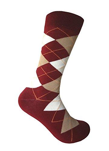 Men's Groomsmen Wedding|Party Events|Gala Collection Maroon(burgundy)/Beige/Off White Argyle Dress socks