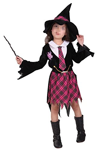 Betusline Kids Girls Red Plaid Wicked Witch Cosplay Halloween Costume