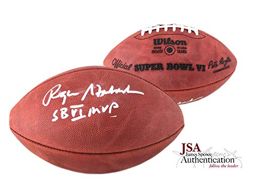 (Roger Staubach Autographed/Signed Official Wilson Authentic Super Bowl 6 NFL Football with