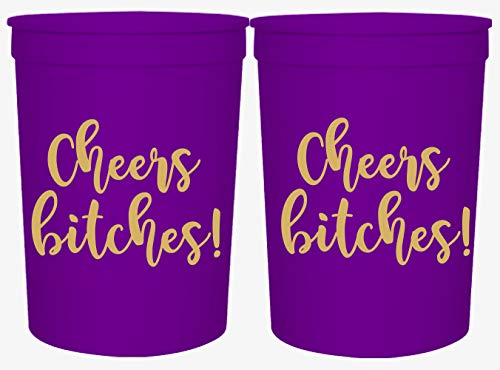 Cheers Bitches! Party Cups, 16oz - Set of 12 Perfect Birthday Party Cups, Bachelorette Party Cups or any Occasion (Purple)]()