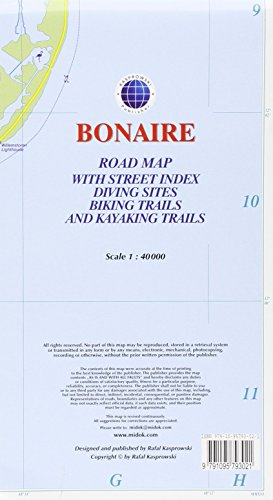 Bonaire : Road Map with Street Index, Diving Sites, Biking Trails, and Kayaking Trails