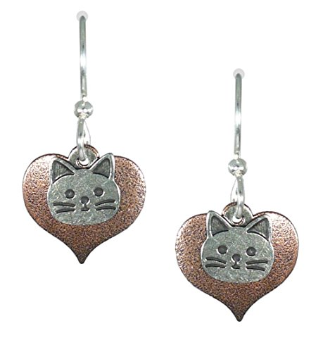 Joseph Brinton Silvery Cat Head on Coppery Background Earrings 7527-C