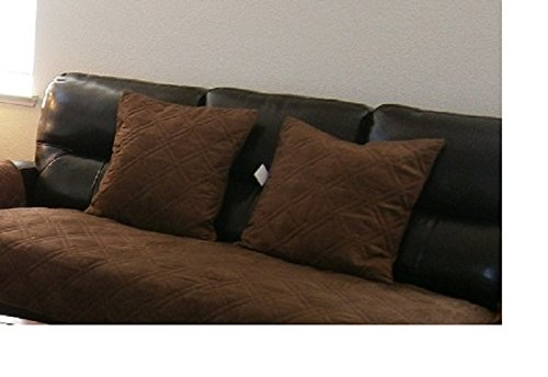 OctoRose ® Bonded Micro Suede Quilted Cushion Cases (dark brown, 2pcs-20x20'(cushion case))