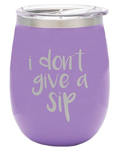 Tsc Powder Coated Don T Give A Sip 14 Oz Stemless Wine Glass  Slider Lid Violet