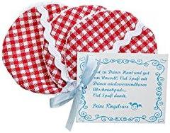 Discos desmaquillantes reutilizables de tela para limpieza facial algodones desmaquillantes algodón 6 cm cuadros rojo blanco Comercio justo Ringelsuse