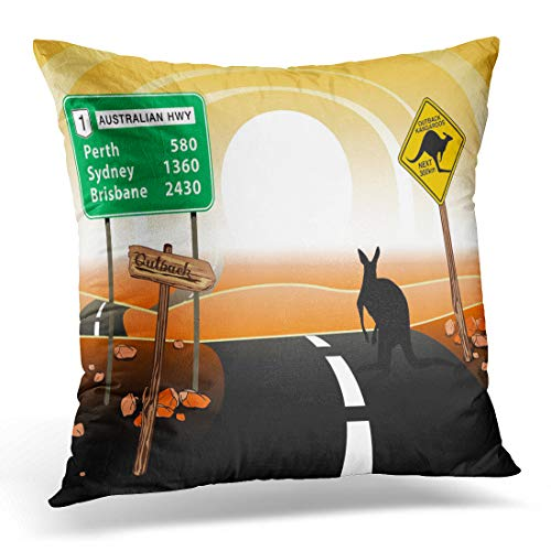 Kangaroo Road Sign (Emvency Throw Pillow Cover Green Sign Kangaroo Standing on Road in The Australian Decorative Pillow Case Home Decor Square 18