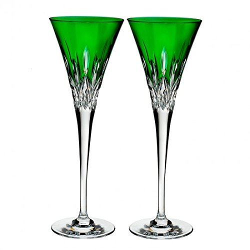 Waterford Lismore Pops Set of 2 Flutes Emerald