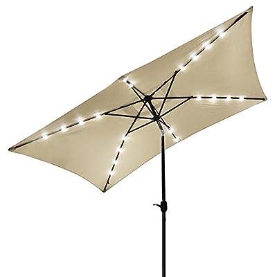 Yescom 10'x6.5' Rectangle Solar Outdoor Crank Tilt Patio LEDs Umbrella Poolside Garden Beach Beige/Red(Pack of 1/2/4)