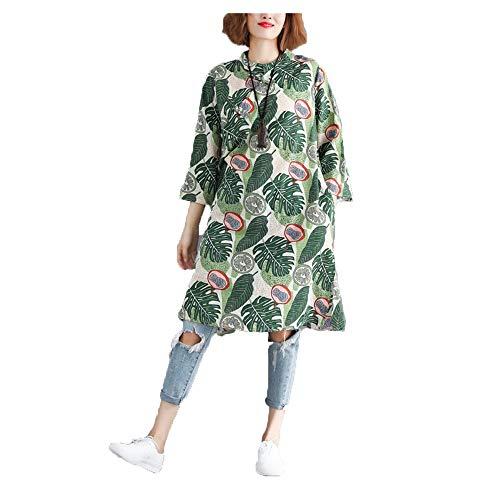 Mid-length Shirt Jupe Automne Nouveau Plus Engrais XL Robe Lache Confort (Color : Green, Size : Free size) Green