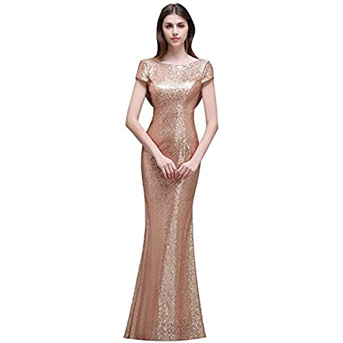 Rose gold bridesmaid dress amazon misshow women sparkly rose gold long sequins bridesmaid dress promevening gowns us12 junglespirit Image collections