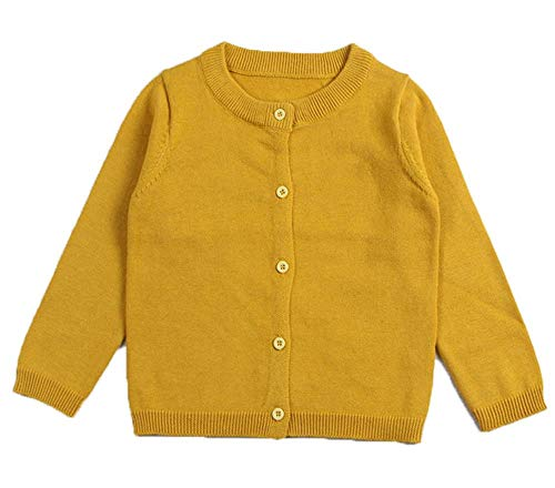 RJXDLT Girls Crewneck Cardigan Long Sleeve Children Button Cotton Sweater Uniform Sweaters for Little Girls 2Y Turmeric ()