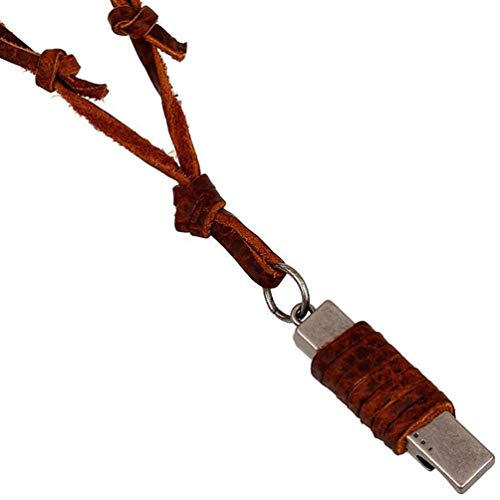 Men's 4mm Brown Leather Bottle Opener Pendant Adjustable Chain Necklace,19'' to 34''