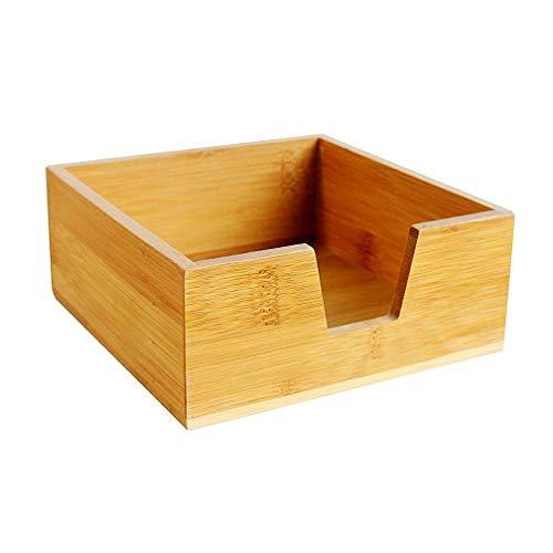 SYROVIA Bamboo Desktop Organizer Tissue Holder Case Wood cocktail paper napkin -