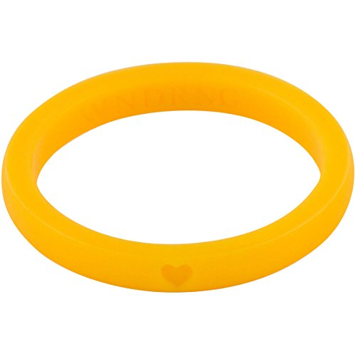 WNDRNG - Women's Ultra Thin Stackable Silicone Wedding Ring. SET OF 10 Designer Color Rings. Perfect Promise, Engagement, or Wedding Band for Active Women, (Goldenrod, 6)