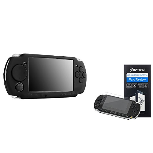 Insten Replacement PSP 3000 Silicone Skin Case with LCD Screen Protector - Black (2 Pack)