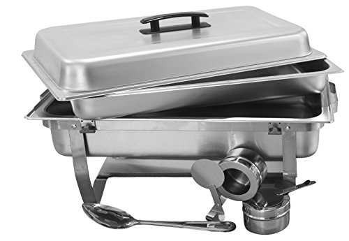 Review TigerChef 8 Quart Full Size Stainless Steel Chafer with Folding Frame and Cool-Touch Plastic on top – includes 2 Free Chafing Gels and Slotted Serving Spoon (3, 8 Quart Chafer)