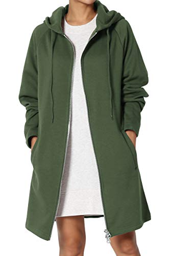 (TheMogan Women's Hoodie Oversized Zip Up Long Fleece Sweat Jacket Army Green)