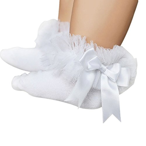 (DIGOOD Suit for 0-6 Years Old Kids, Girls Princess Elegant Bowknot Lace Ruffle Frilly Trim Ankle Socks (2-4 Years Old, Full)
