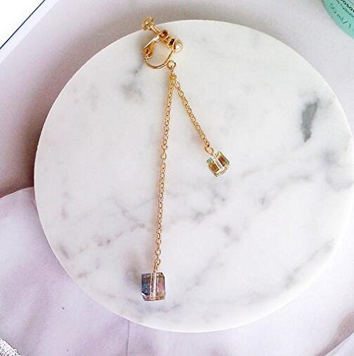 Screw Back Clip on Earring Clip for No Piercing Drop Dangle Tassel Crystal Block Gold-tone for Girl