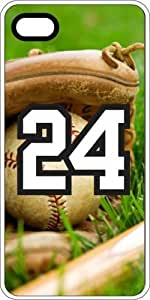 Baseball Sports Fan Player Number 24 White Plastic Decorative iPhone 5/5s Case
