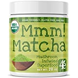 Mmm! Matcha Superfood Powder with Lions Mane Mushroom - Ceremonial Grade Green Tea Powder for Energy, Focus and Antioxidant Rich – Cognitive and Nootropic Supplement – 30 Servings