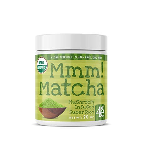 Mmm! Matcha Superfood Powder with Lions Mane Mushroom - Ceremonial Grade Green Tea Powder for Energy, Focus and Antioxidant Rich - Cognitive and Nootropic Supplement -20oz 30 Servings