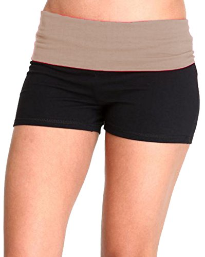 Waist Band Contrast Yoga Fold Over Shorts (Large, Black/Taupe) (Fold Over Band)