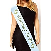 Mummy to Be Baby Shower Party Sash Satin Gold & White