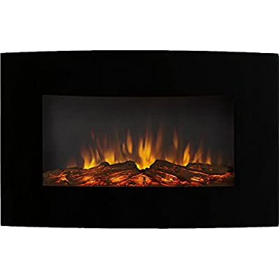 Regal Flame Gibson Living GL5135LE Soho 35 Inch Curved Black Log Wall Mounted Electric Fireplace