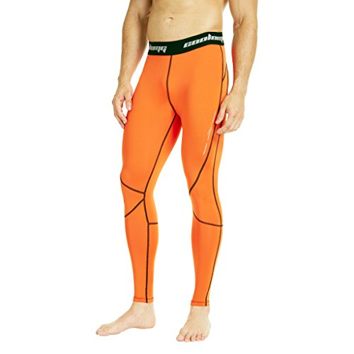COOLOMG Men's Compression Pants Running Tights Baselayer Cool Dry Long Pants Sports Leggings Orange Adults X-Small (Youth Large)