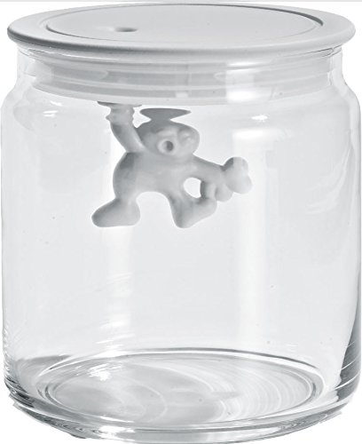 A Di Alessi Glass Gianni Jar A Little Man Holding On Tight Small Kitchen Box with Hermetic Lid in Thermoplastic Resin, White AMDR04 W