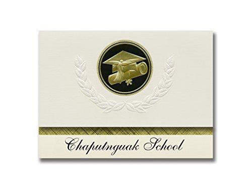 Signature Announcements Chaputnguak School (Chefornak, AK) Graduation Announcements, Presidential style, Elite package of 25 Cap & Diploma Seal Black & Gold