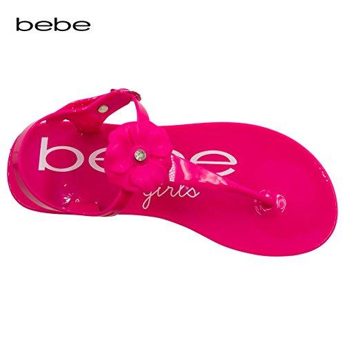 bebe Girls Jelly Thong Slingback Flat Sandal With Rhinestone Blossom Fuchsia Size (Fuchsia Color Rhinestone)