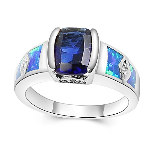 Sapphire Silver Plated Ring - Women's Ring Jewelry Australian Fire Opal Inlay Blue Sapphire Silver Plated Ring (6, Blue)
