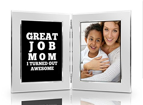 Square Frame Sterling Photo Silver (Great Job Mom I Turned Out Awesome 4x6 Funny Picture Frame Set - Premium Double Hinged Photo Frames - Gift for Mom, Wife, Grandma, Women - Perfect Present for Her Birthday, Mother's Day, Christmas)