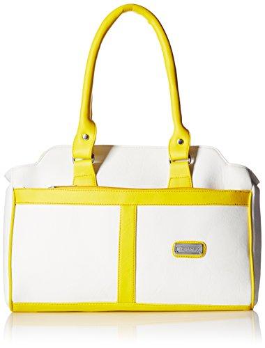 Fantosy Women's Handbag (White and Yellow) (FNB-345)
