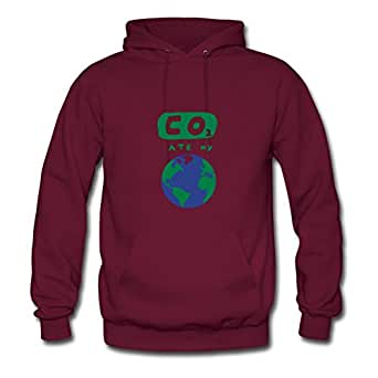 Custom Co2_ate_my_world Burgundy Women 100% Cotton Sweatshirts Fitted Funny X-large