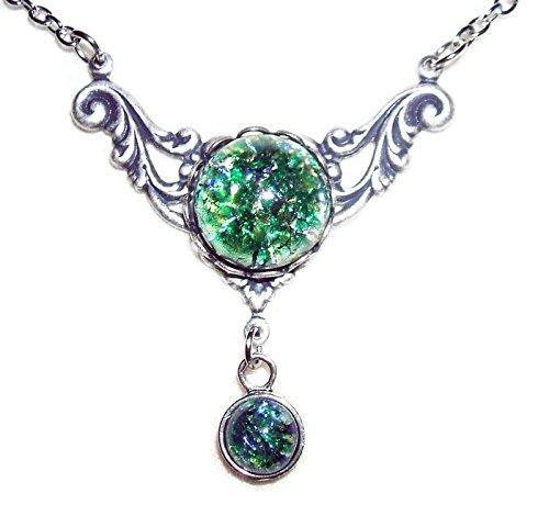 Glass Deco Art Czech (ART DECO Necklace CZECH Glass GREEN OPAL Silver Plt Pendant)