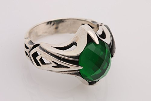 Ottoman Style Handmade Men's Jewelry Oval Emerald 925 Sterling Silver Men's Ring All Size