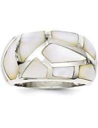 925 Sterling Silver Mother Of Pearl Band Ring Fine Jewelry Gift Set For Women Heart