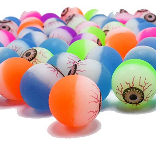 JULAN 100Pcs Halloween Eyeball Bouncy Balls Small Colorful