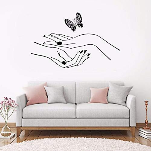 Pbldb 68X42Cm Wall Decal Vinyl Black Sticker Bedroom Hand Manicure Nail Salon Cute Butterfly Wall Sticker -