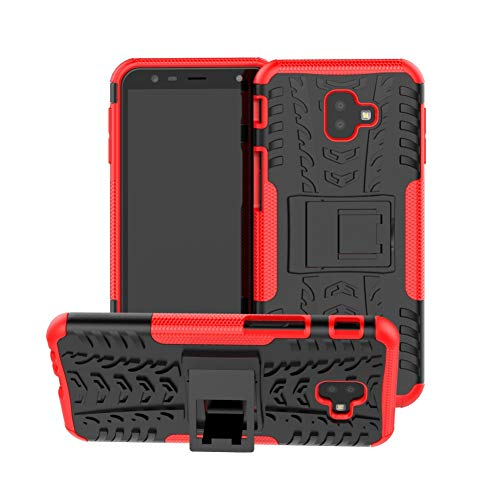 Galaxy J6 Plus Case Armor DWaybox Hybrid Rugged Heavy Duty Hard Back Cover Case with Kickstand for Samsung Galaxy J6 Plus/J6 Prime 2018/J4 Plus/J4 Prime 2018 6.0 Inch (Red)