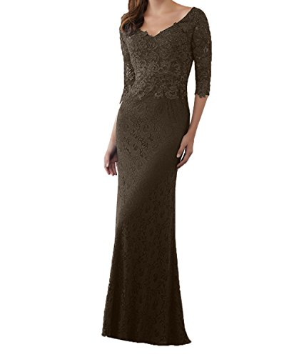 Braun Neu Brautmutterkleider Spitze ausschnitt Damen Abendkleider Meerjungfrau Promkleider Festlichkleider Lang Charmant V Rock 2018 Ew6RYO