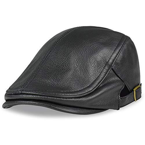 Men Genuine Leather Newsboy Hat Cap Gatsby Flat Golf Cabbie Baker Beret Retro New Men