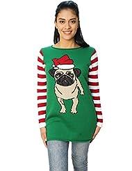 "Ugly Christmas Sweater Funny Women's Dog ""Pug Life"" Sweatshirt-Medium"