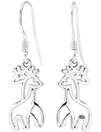 925 Sterling Silver Twin Hugging Giraffe Dangle Earrings