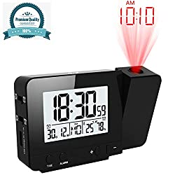 Amazqi Projection Alarm Clock, Digital Alarm Clock with Dual Alarms USB Phone Charger LDC Display 180° Projector Temperature Humidity 12/24 Hour Snooze for Bedrooms Ceiling Wall, AC & Battery Operated