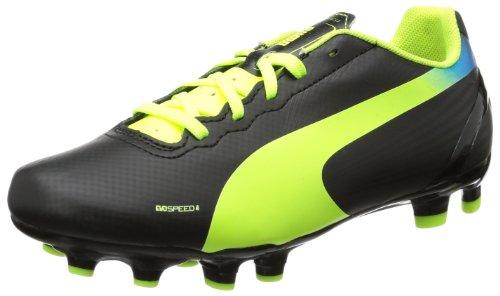 Puma evoSPEED 4.2 FG Jr - Zapatos de fútbol de material sintético infantil negro - Schwarz (black-fluo yellow-brilliant blue 01)