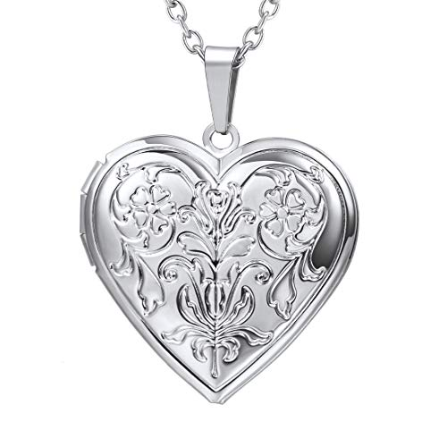 U7 Blooming Flower Locket Necklace Women Gift Grandma Necklaces Platinum Plated Vintage Heart Shape Photo Lockets Pendant ()